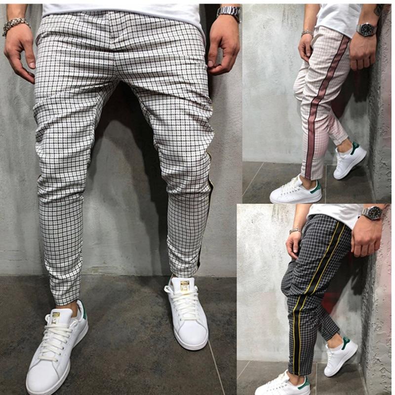 Men Casual Pants Ankle Length Elastic Strap Striped Jogger Sport Fitness Jogging Pants Pencil Leg Pants Long Pants