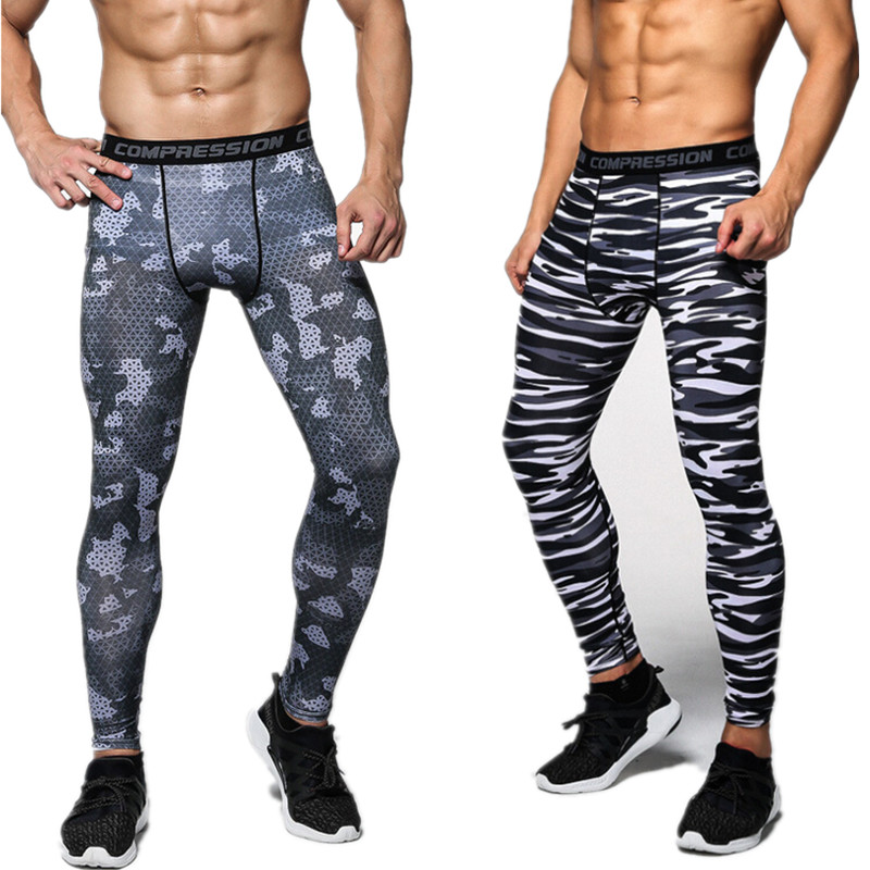 2017 high quality Compression Pants Tights Casual Bodybuilding Mans Trousers Brand Camouflage Army Green Skinny Leggings S-XXXL