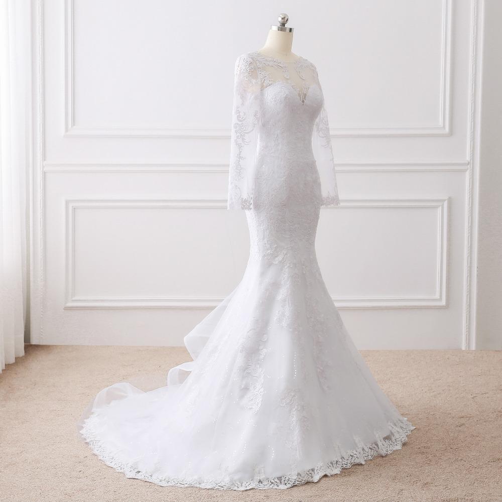Romantic Lace Appliques Long Sleeve Wedding Dress