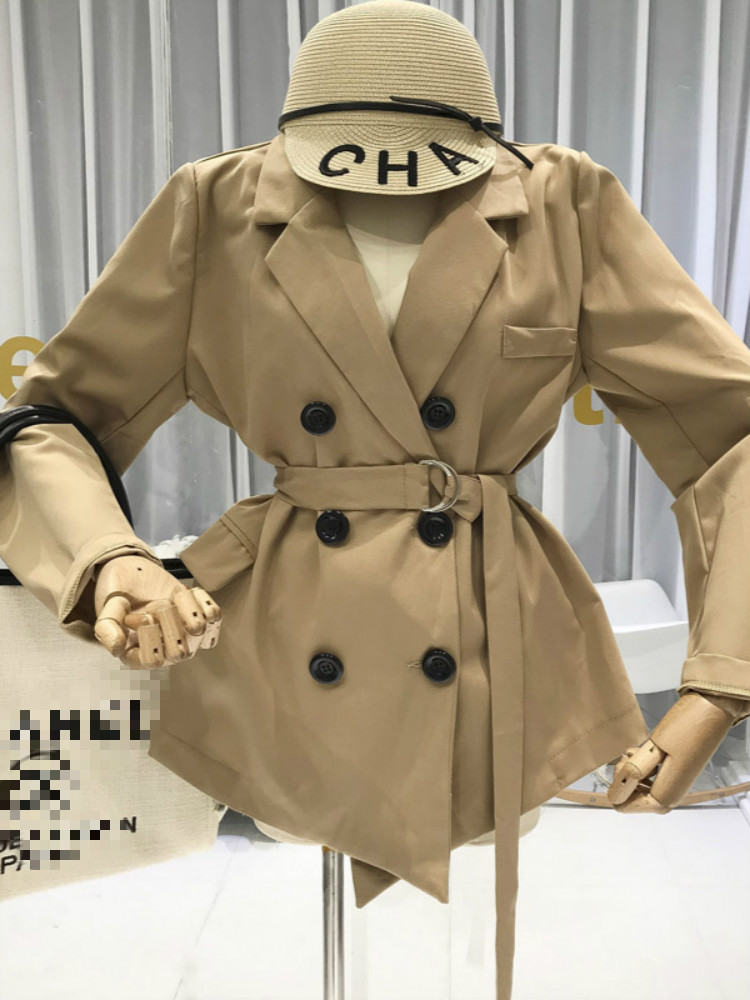 2019 Women Coats and Jackets Autumn New Items Double Breasted Office Lady Button Turn down Collar street wear womens jackets in Jackets from Women 39 s Clothing