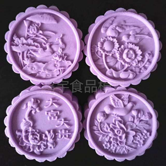 50806565a 150 Grams Moon Cake Mold Round Flower Mooncake Stamps Hand Press Cake  Plunger Tools Plastic Baking Pastry Tools Kitchen Bakeware
