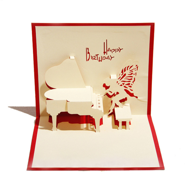 Red blue handmade 3d pop up birthday greeting cards with piano red blue handmade 3d pop up birthday greeting cards with piano angel free shipping m4hsunfo