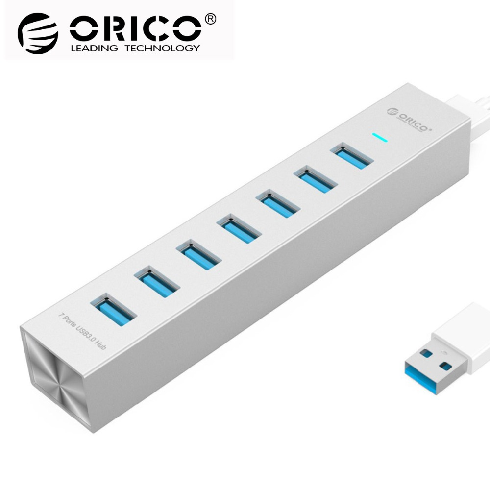 ORICO Aluminum 7 Ports USB HUB USB3.0 HUB High Speed Up to 5Gbs Usb splitter Usb hub with Power adapter for computer usb hub orico m3h73p aluminum usb hub splitter super speed 5gbps 7 usb3 0 ports 3 usb charging ports for charging