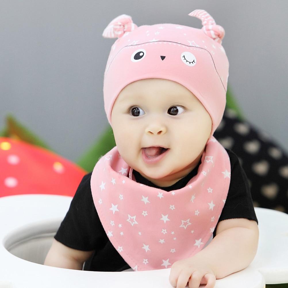 MUSEYA 2pcs/set Unisex Kids Cartoon Owl Star Print Sleep Hat Cap & Bandana Bib Saliva Towel For Children