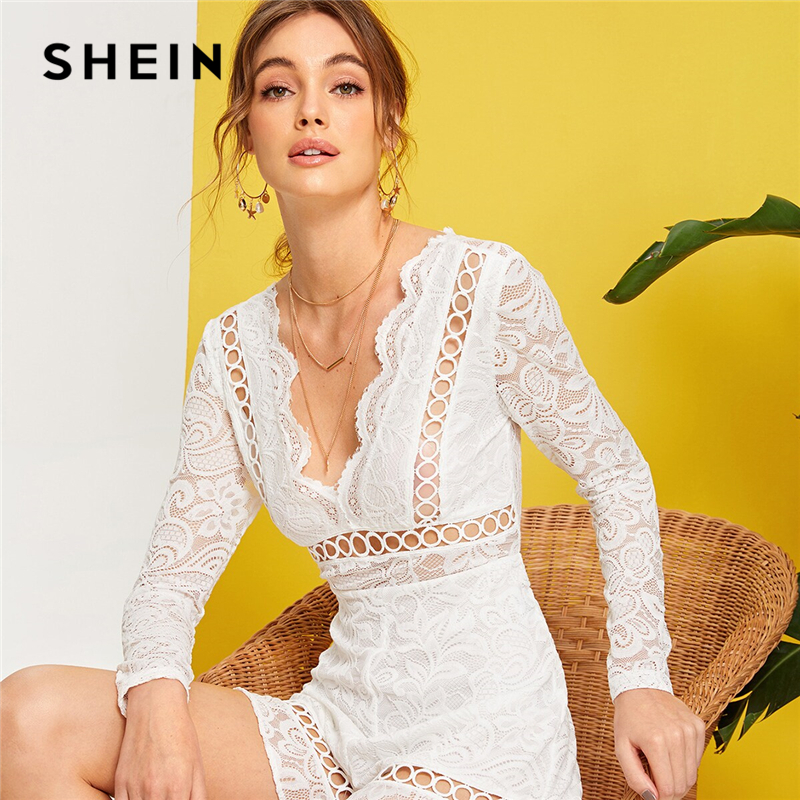 SHEIN White Fringe Tie Back Guipure Lace Romper Long Sleeve Romantic Rompers Womens   Jumpsuit   Women Summer Double V Neck Playsuit