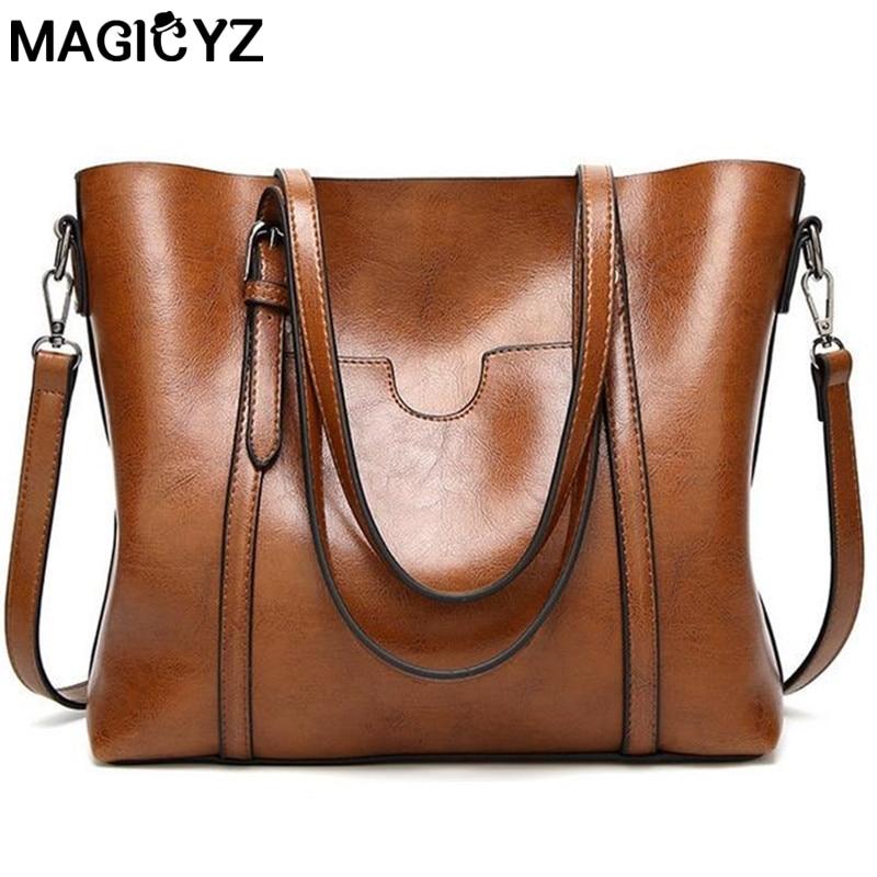 Mujeres bolsa de aceite de cera de cuero de las mujeres bolsos de lujo de señora bolsos de mano con bolsillo monedero mujeres bolsa de mensajero grande sac Bolsos Mujer