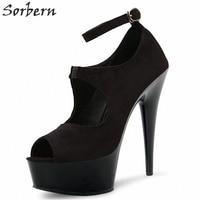 Sorbern Black Ankle Straps Peep Toe Pumps Spike High Heel 17Cm Shoes Woman Heels Women Shoes Size 11 Mary Jane Shoes For Women