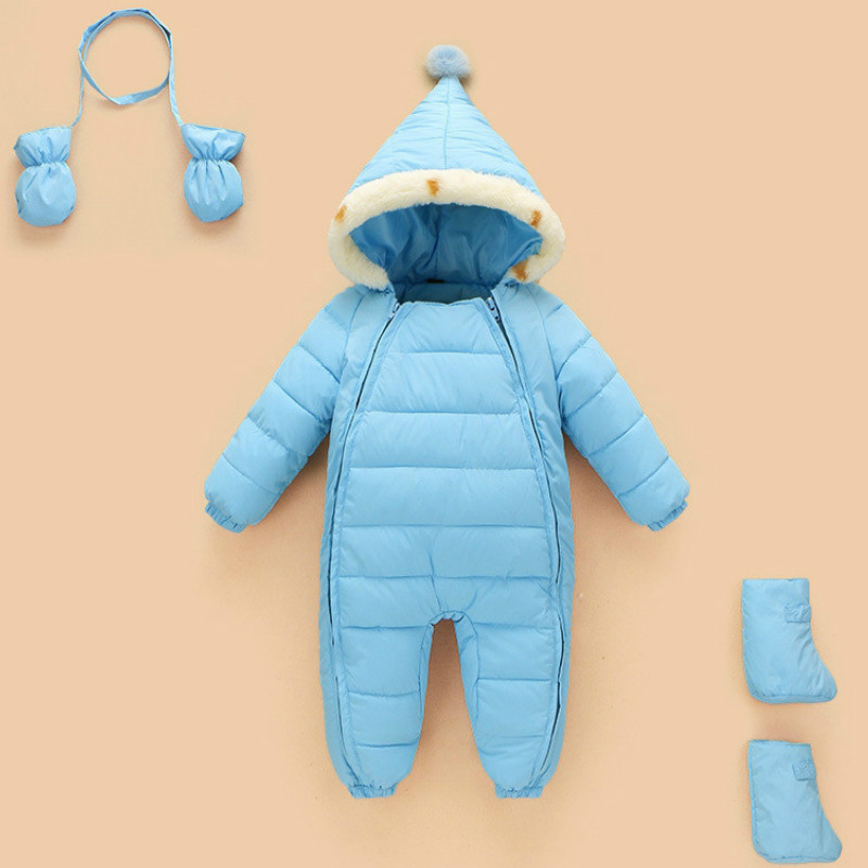 2017 NEW Baby Rompers Winter Thick Warm Baby boy Clothing Long Sleeve Hooded Jumpsuit Kids Newborn Outwear for 0-9M winter baby rompers organic cotton baby hooded snowsuit jumpsuit long sleeve thick warm baby girls boy romper newborn clothing