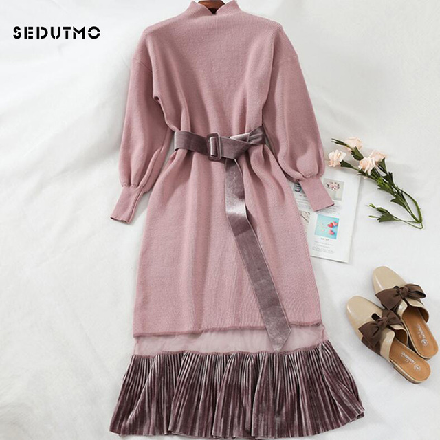 d4b7fd4e8e6 SEDUTMO Winter Lace Sweater Dress Women Tunic Velvet Basic Dresses Knitted  Long Sleeve Spring Black Sexy Party Dress ED5465