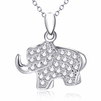 YFN 925 Sterling Silver Full Crystal Lovely Elephant Pendant Necklace Fashion Animal Charm Jewelry GNX12715