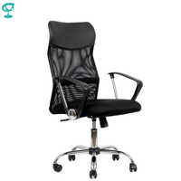 95167 Black Office Chair Barneo K-133 Fabric and Mesh high back chrome armrests withgas lift roller free shipping in Russia