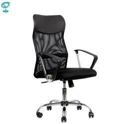 95167 silla de oficina negra tela Barneo K-133 y malla Espalda alta reposabrazos cromados con rodillo de elevación de gas envío gratis en Rusia