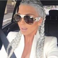 New Fashion Sunglasses Metal Leather Decoration Frame Luxury Brand Designer Women Mirror Sun Glasses Men UV400