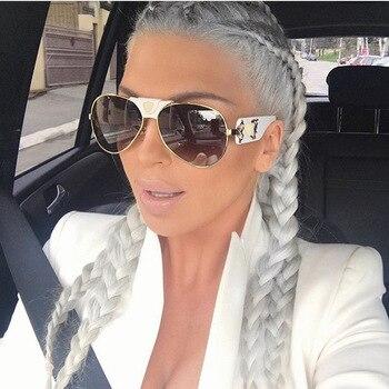 جديد نظارات الموضة المعادن جلدية الديكور إطار الفاخرة العلامة التجارية مصمم المرأة مرآة نظارات شمسية الرجال UV400 ظلال 1013R