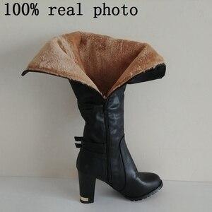 Image 5 - ORCHA LISA Women Winter Thick Fur Knee High Heel PU Leather Boots Zipper Snow Boot Long Chunky Heels Botas Feminina Black Brown