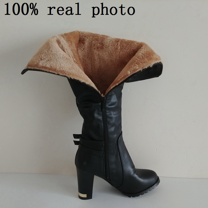 Image 5 - ORCHA LISA Womens Winter Fur Knee High Heel Boots Zipper Warm Snow Boots long boots botas feminina Black Brown CCA059-in Knee-High Boots from Shoes