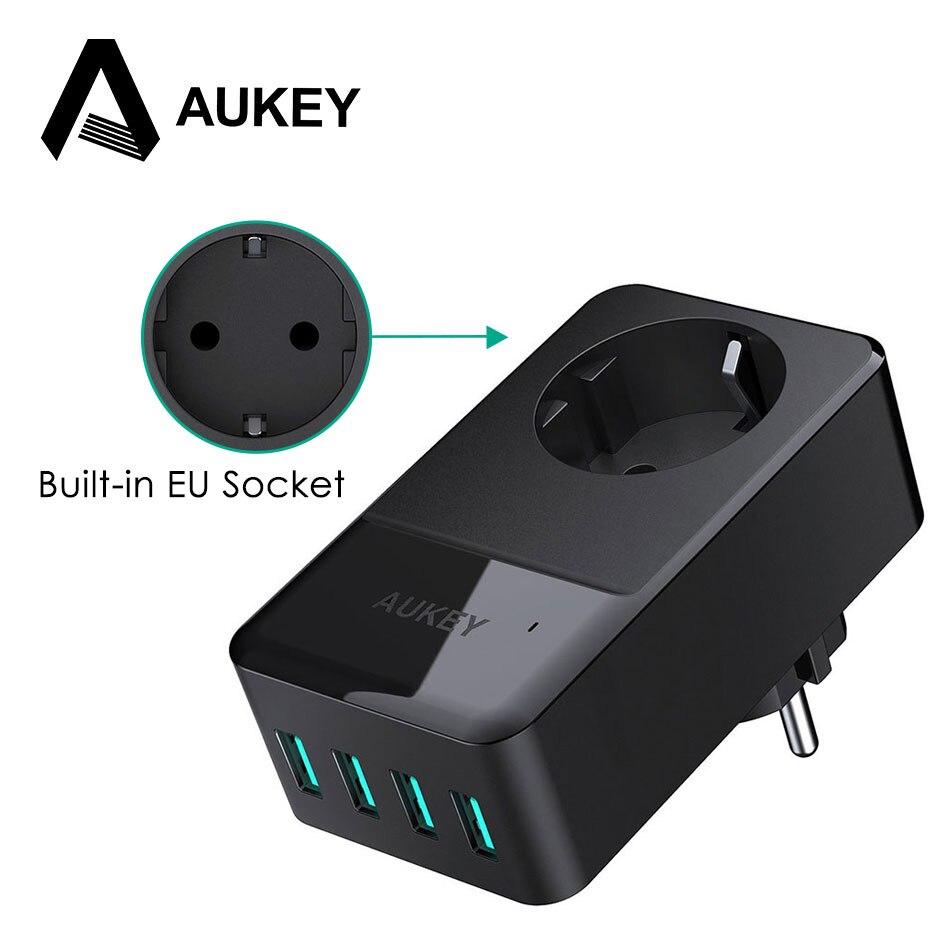 Зарядное устройство Aukey для путешествий, мульти USB, 4 порта, адаптер для мобильного телефона, умное настенное зарядное устройство, быстрая зарядка для телефона со встроенной Европейской розеткой