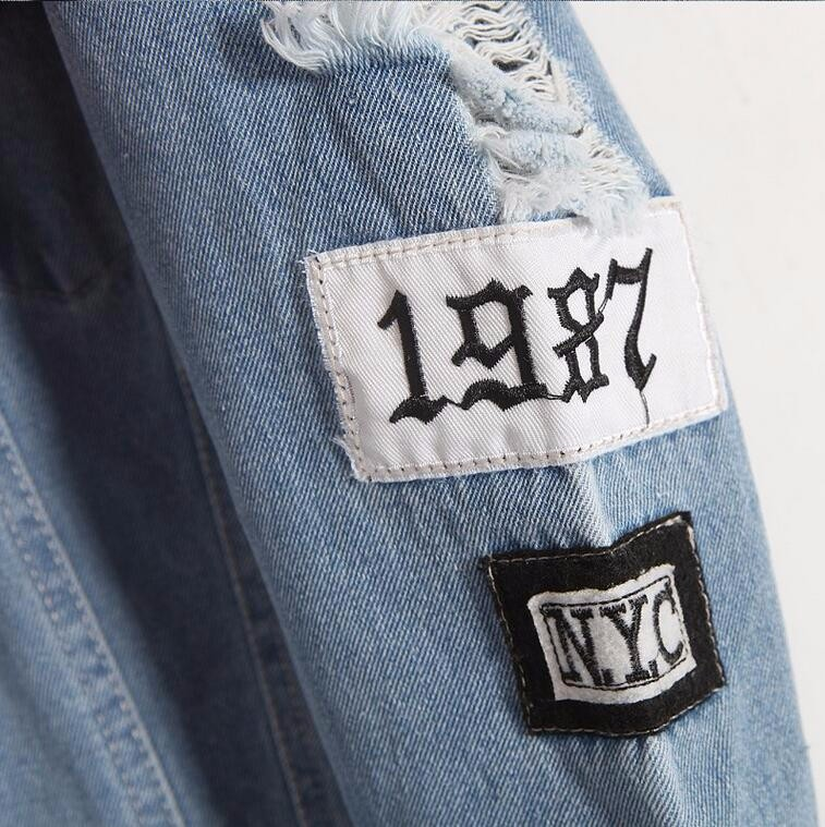 Where is my mind? Korea Kpop retro frayed embroidery letter patch women's denim bomber jacket Ripped Distressed Blue Coat Female 7
