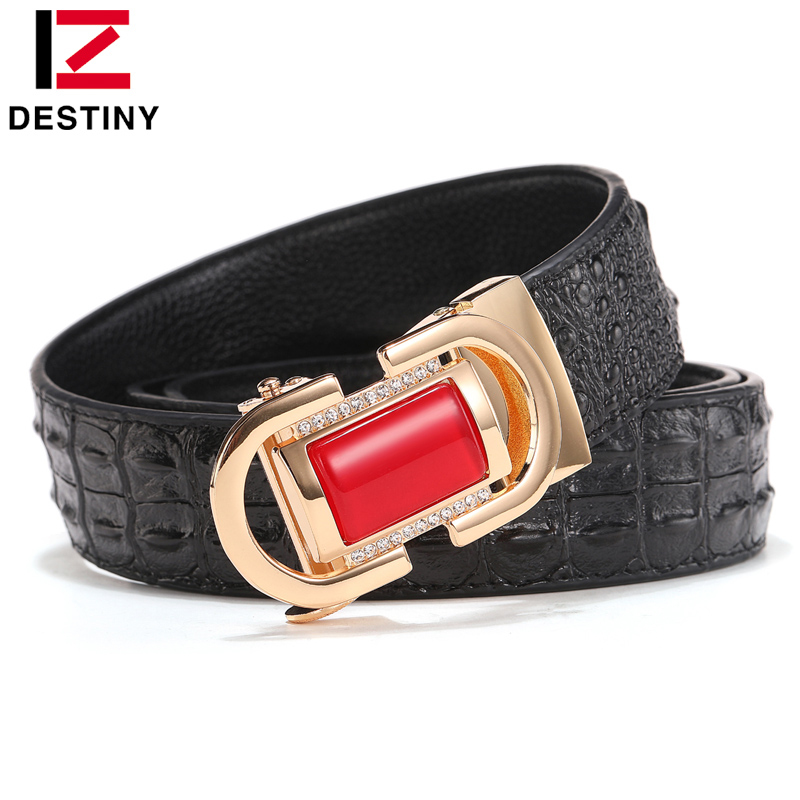 DESTINY Designer Belt Men High Quality Red Green Jade Belts Agate Male Genuine Leather Strap Luxury Famous Brand Crocodile Gold