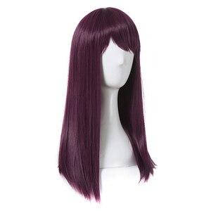 Image 3 - L email perruque de Cosplay synthétique de 50cm de Long, style nouveau film à caractère Mal, perruque de Cosplay violette résistante à la chaleur