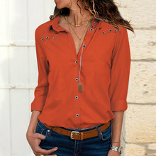 Button Holes Long Sleeve Chiffon Shirts Women's Blouses Tops Solid Color Sexy V Neck OL Blouse Autumn Lapel Shirt Blue Red Top все цены