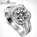JewellWang 18K White Gold Rings for Women Luxury Princess Square 1.0CT Carat Certified Moissanite Engagement Ring Diamond Side
