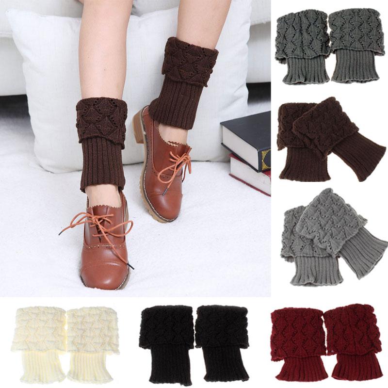 1pair Stretch Boot Cuffs Women Winter Short Crochet Grain Shell Knit Leg Warmers Foot Cover Toppers Socks JL