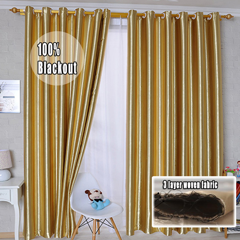 Window Curtain Blackout Elegant Gold Curtains For Living Room Luxurious European Style Cortinas