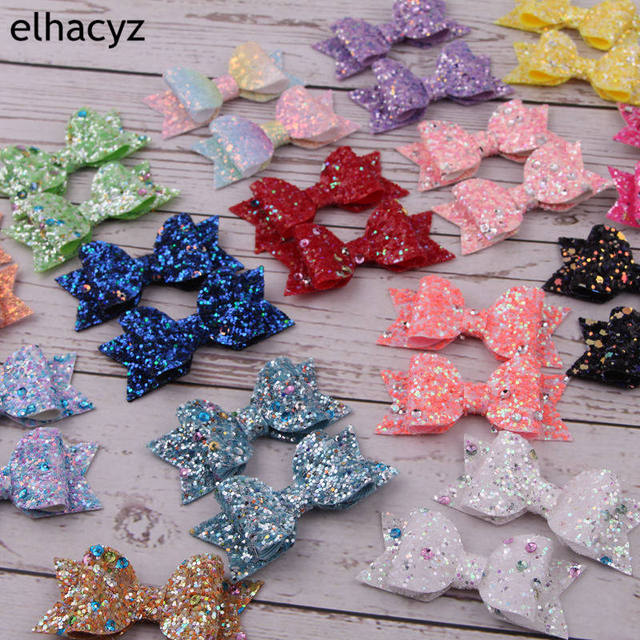 2pcs/lot Retail 55 Colors Chic European 3″ Glitter Leather Hair Bow With Clips Children Hairpins Bowknot Hair Accessory Headwear