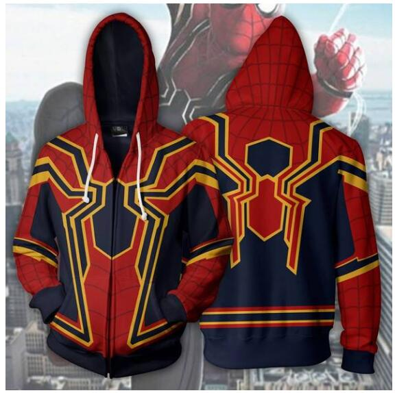 New  Autumn Winter 3D print Man Hoodies Sweatshirts Superior Spider-man Zip Up Hoodie Cosplay Cotton Hooded Coats jacket