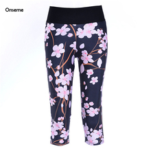 Peach Floral Print Leggings for Women Sexy Capris Lady Fitness Workout Leggings for Sportwear Plus Size Summer Pant CJO-242