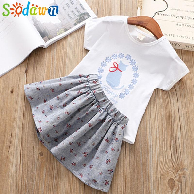 Sodawn 2018 Summer NEW Style Girl Clothes Cat Print Design T-shirt + Floral Dress 2pcs Girls Clothing Set Children Clohting