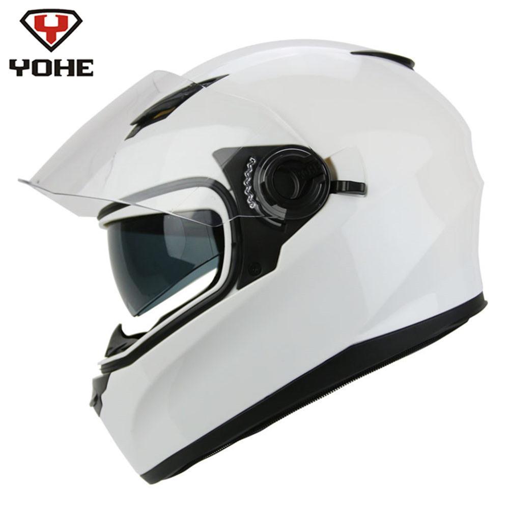 YOHE Moto Casque Intégral Casco Moto Casque Moto Casques Double Visières Blanc Capacetes De Motociclista Motoqueiro Racing