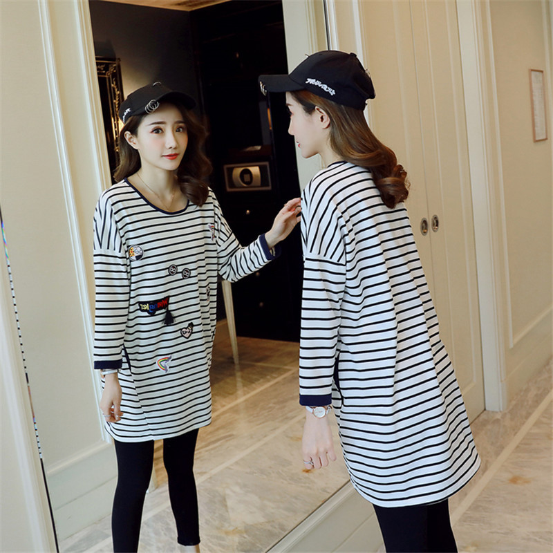 2018 Spring Pregnant Women O Neck Long Sleeve Loose Plus Size Fashion Stripe Long T Shirt Tees Maternity Clothings Shirts Brand women s long sleeve jewel neck solid color t shirt