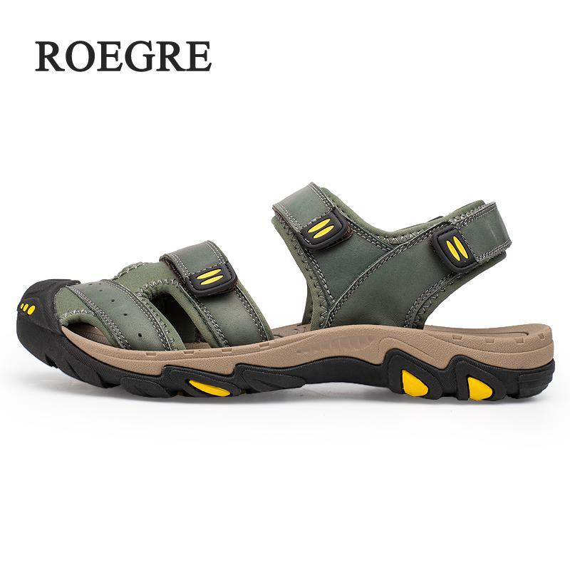 ROEGRE New Fashion Summer Shoes Cow Leather Men Sandals Mens Casual Shoes Non-slip Rubber Soles Beach Shoes Plus Size 38 ~ 47