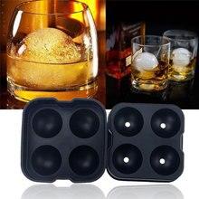 1 шт 4 отверстия виски коктейль большой ледяной куб лоток форма круглая форма льда мяч производитель PP льда плесень бар кухонные аксессуары случайные цветы