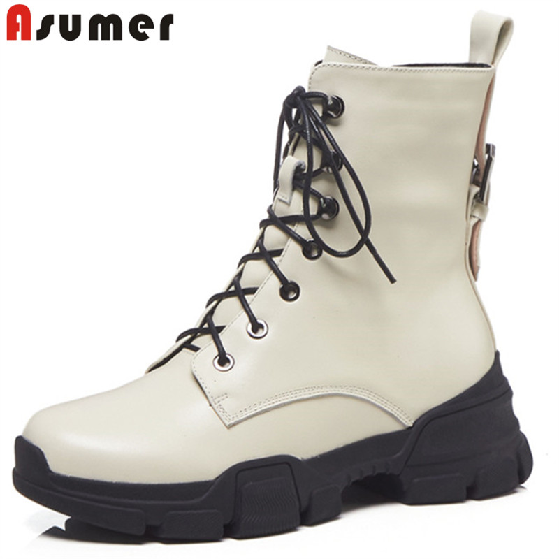 ASUMER 2018 fashion autumn winter boots women round toe zip genuine leather boots round toe lace up ankle boots for women шина bridgestone blizzak revo gz 225 50 r17 94s