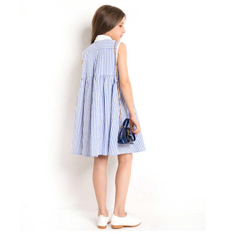 Платье для девочек 10, 12 лет, летнее платье в полоску без рукавов, клетчатое праздничное платье принцессы, элегантная одежда для девочек-подростков