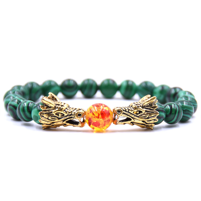 HYHONEY 8MM Natural Stone Beads Bracelet For Men bileklik Men Jewelry Dragon pulseras 20