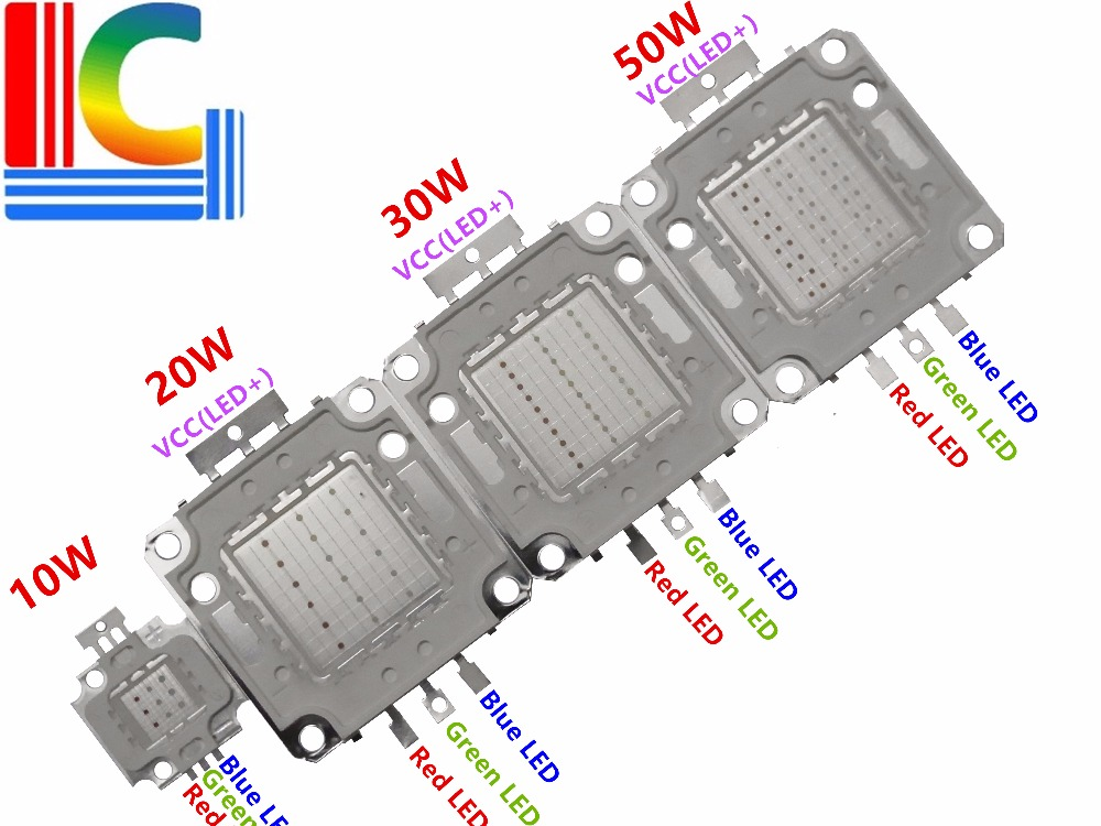 Cost-effective RGB High Power LED Bulb Lamp Chip 10W 20W 30W 50W integrated LED light source Red Green Blue Free Shipping 10w 3 series 3 in parallel integrated 9 led rgb light source module silver