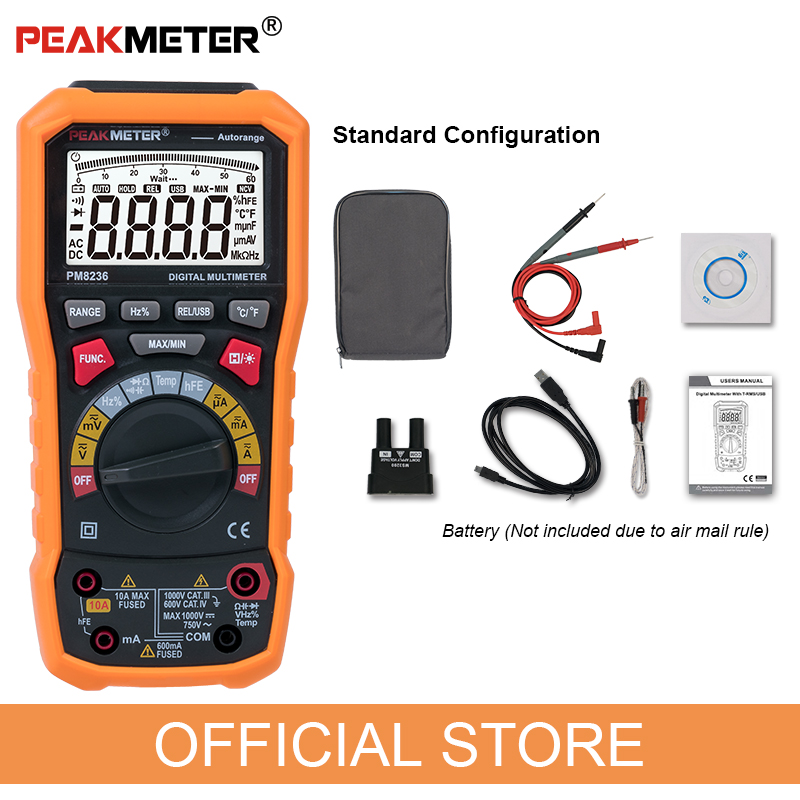 Купить с кэшбэком Official PEAKMETER PM8236 Auto manual Range Digital Multimeter with TRMS 1000V Temperature capacitance frequency Test