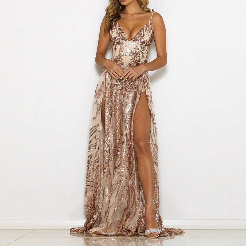 Sexy Sequined Floor Length Party Dress 2 Splits Sides Backless Padded Hollow Out Maxi Dress Gown