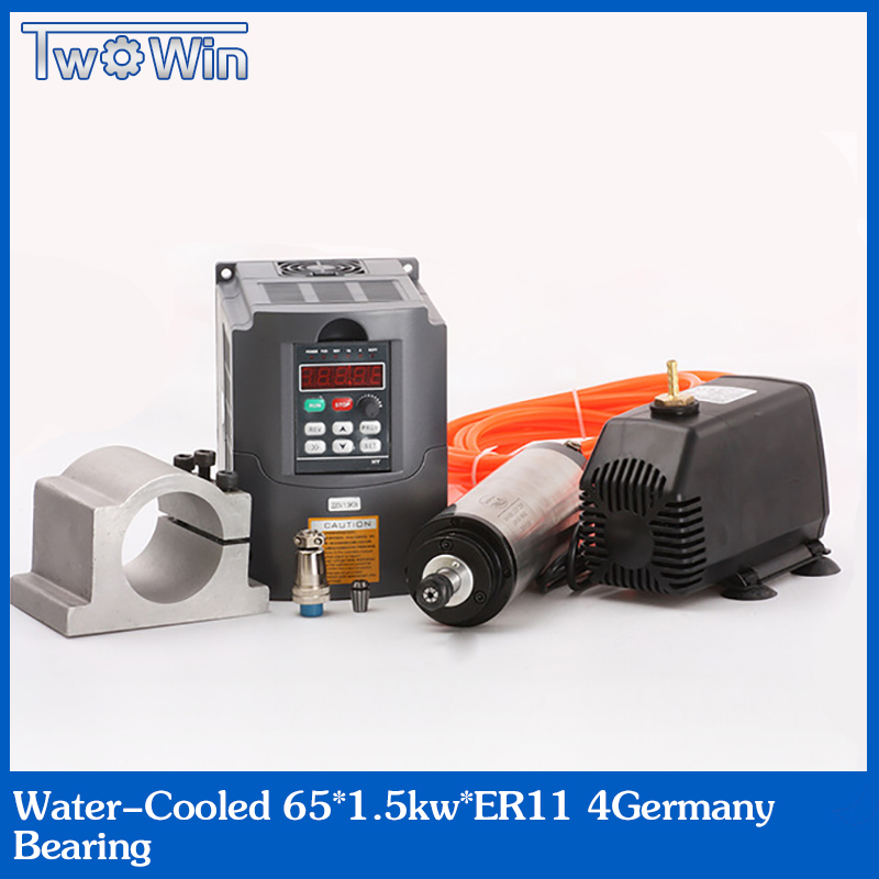 ER11 Шпиндельный двигатель 1.5кВт с водяным охлаждением шпинделя и 1500 Вт VFD и мм 65 мм зажим и охлаждающий водяной насос и шт. 13 шт. er11 для фрезеров...
