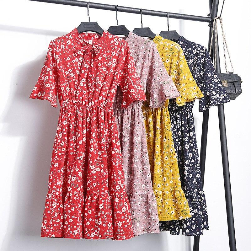 Women Dress Summer Floral 2018 Chiffon Floral Sweet Women Summer Dress 2018 New Casual Loose Print Patchwork Bow Short Sleeve