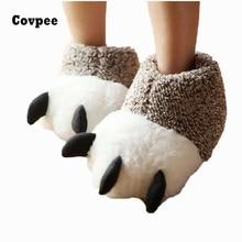 купить New Fashion Thermal Winter Indoor Cotton Padded Plush Cartoon Bear Claw Non-slip Slippers Home Cotton Slippers Floor Shoes ctx19 дешево