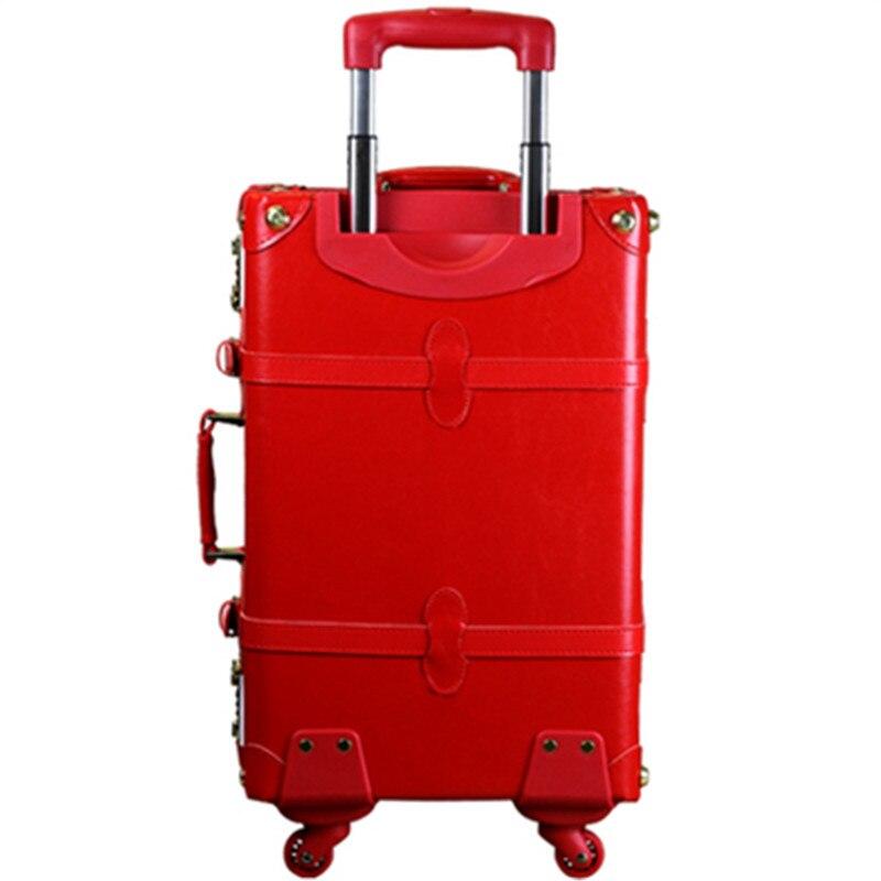 Braut Retro Rot Reisetasche Trolley Gepäck Festliche Verheiratet Bild Weibliche Leder Taschen, Volle Rot Verheiratet Gepäck Sets Für Mädchen GroßE Auswahl;