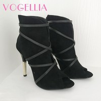 2018 New Fashion Woman Faux Suede Pumps Sexy Open Toe Ankle Boots Slip On Deep V Cut High Heel Lady Autumn Shoes 3