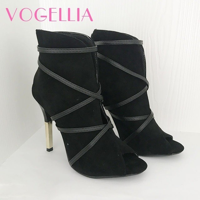 2018 New Fashion Woman Faux Suede Pumps Sexy Open Toe Ankle Boots Slip 3