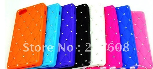 100 pcs/lot Luxury bling diamond case for iphone 5 Babysbreath Silicone back cover