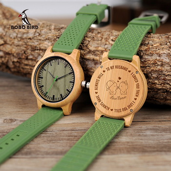 Free Engraving Personalized Lovers' Watches Men Silicone Band Wooden Quartz Wrist Watch Boyfriend Husband Present Customized Men Creative Watches